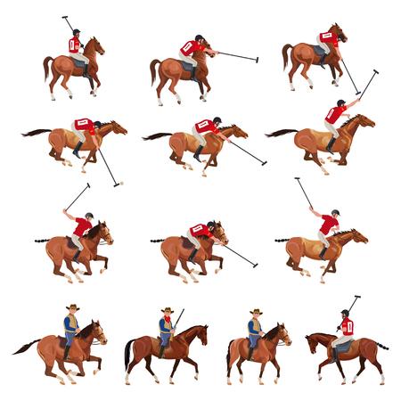 Conjunto de vector jugadores de polo y vaqueros. Ilustración de vector aislado sobre fondo blanco.