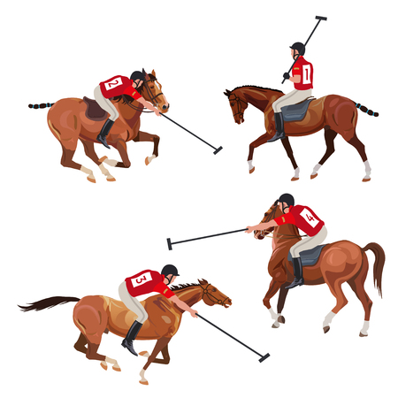 Polo players set . Vector illustration isolated on white background Illustration