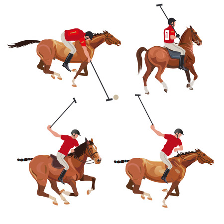 Polo players set . Vector illustration isolated on white background 向量圖像