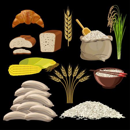 Set of bakery products. Vector illustration isolated on black background Illustration