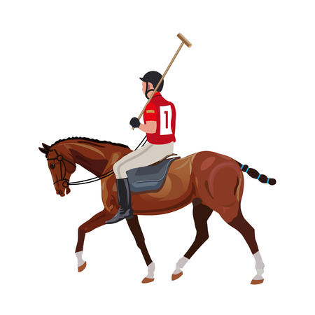 Equestrian polo sport . Player riding a horse and holding a mallet. Vector illustration isolated on white background