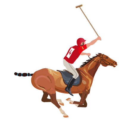 Polo player riding a horse. Vector illustration isolated on white background