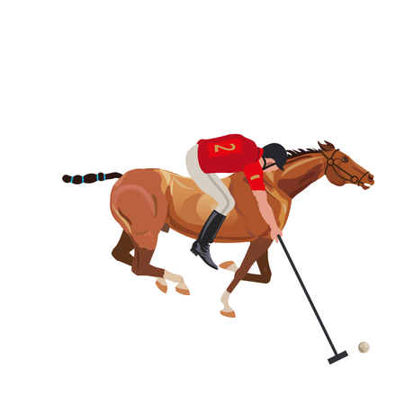Polo player riding a horse. Vector illustration isolated on white background Illustration