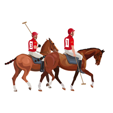 Equestrian polo sport . Two players riding a horses. Vector illustration isolated on white background