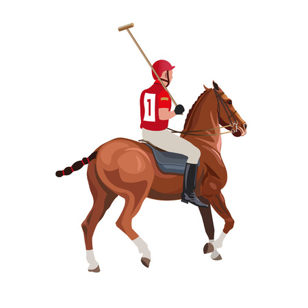 Sport de polo équestre. Joueur monté sur un cheval et tenant un maillet. Illustration vectorielle isolée sur fond blanc