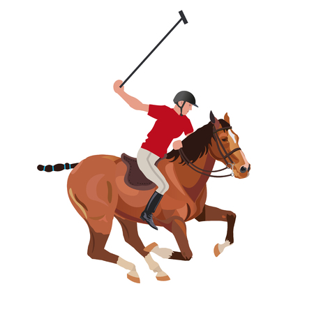 Polo player riding a horse. Vector illustration isolated on white background 向量圖像