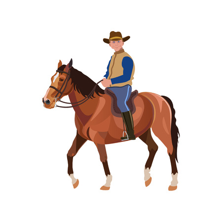 Man riding horse. Vector illustration isolated on white background