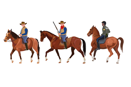 Three horsemen. Cowboys and policeman. Police patrol. Vector illustration isolated on white background Иллюстрация
