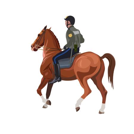 Policeman on horseback. Vector illustration isolated on white background