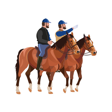 Two horsemen on bay horses. Vector illustration on white background