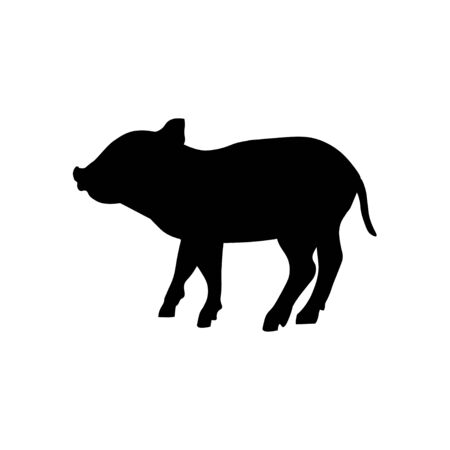Silhouette of wild boar piglet. Vector illustration isolated on white background Ilustração