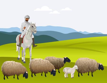 Shepherd on horseback herding his flock of sheep. Vector illustration