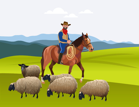Cowboy herding his flock of sheep. Vector illustration.