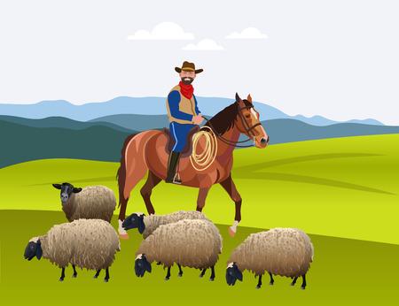 Cowboy herding his flock of sheep. Vector illustration.