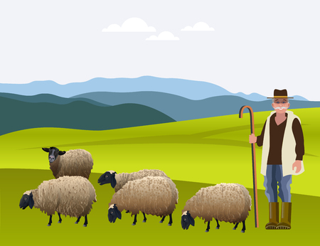 Shepherd herding his flock of sheep. Vector illustration.