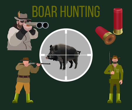 Set of vector illustration for boar hunting - hunters, rifle, boar and hunting cartridges.