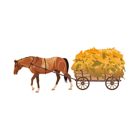 Horse with cart full of hay. Vector illustration isolated on white background