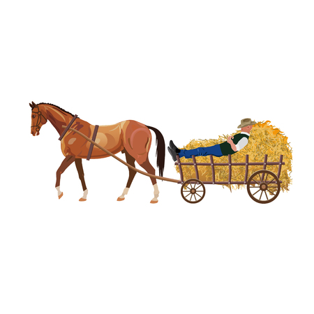 Horse with cart of hay. Vector illustration isolated on white background Vettoriali