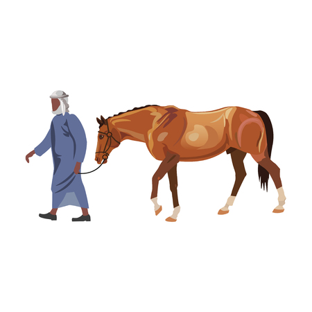 Arab man in a traditional outfit leads a racing horse. Vector illustration isolated on white background