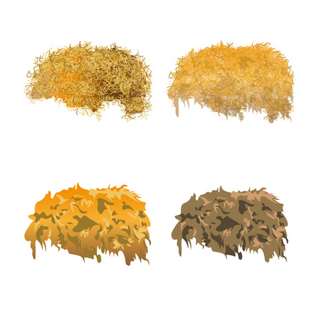 Hay pile set. Vector illustration isolated on a white background