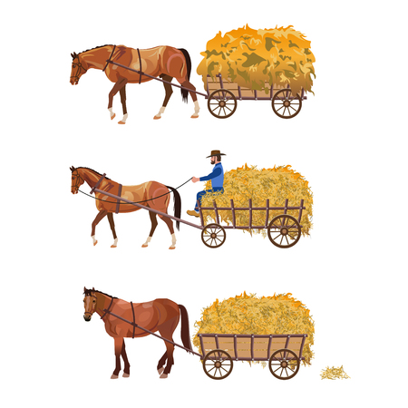 Horse-drawn cart with hay. Set of vector illustration isolated on white background