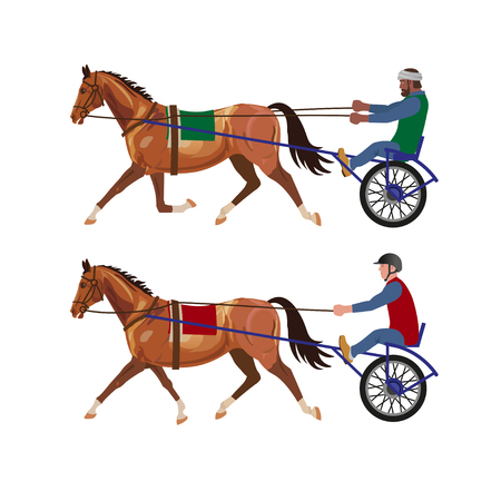 Harness racing set. Vector illustration isolated on white background Illustration