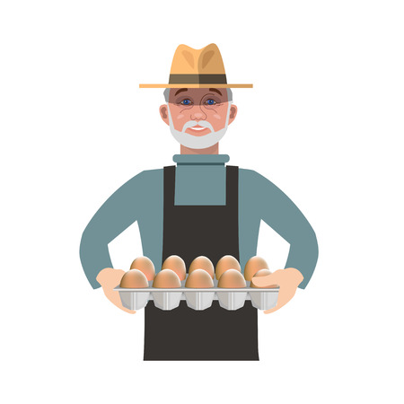 Farmer holding a tray of eggs. Vector illustration isolated on white background