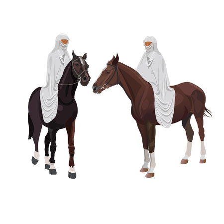 Arabian riders in traditional dress. Vector illustration isolated on white background