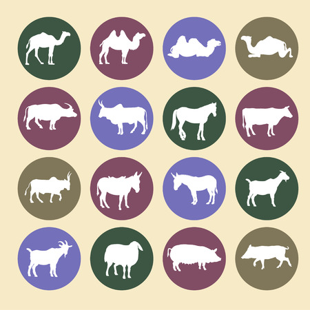 Set of farm animals icons. Vector illustration isolated on white background Illustration