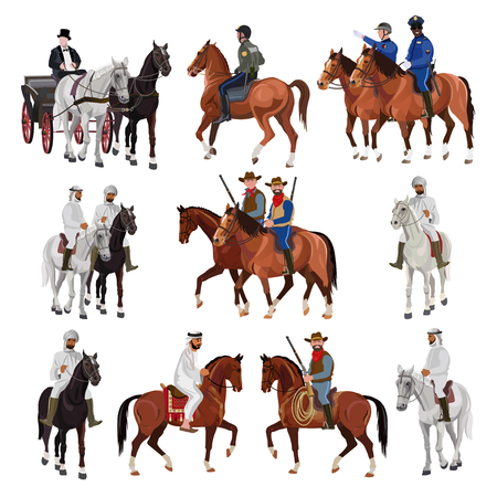 Riders on horsebacks. Set of vector illustration isolated on white background Illustration
