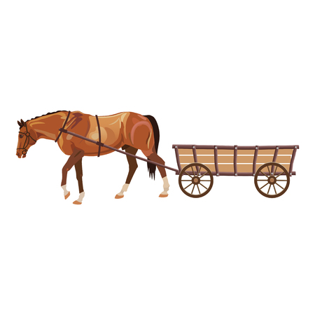 Horse with cart. Vector illustration isolated on white background Vettoriali