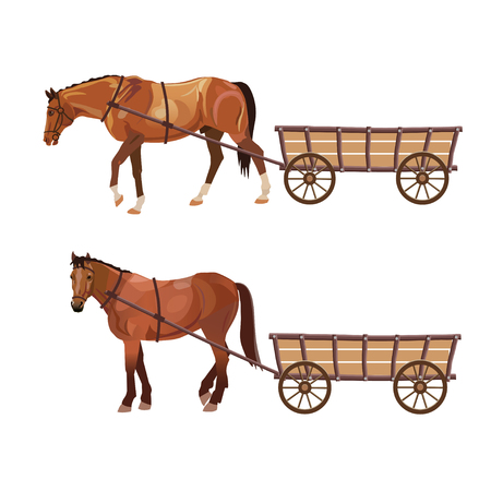 Horse with cart. Set of vector illustration isolated on white background