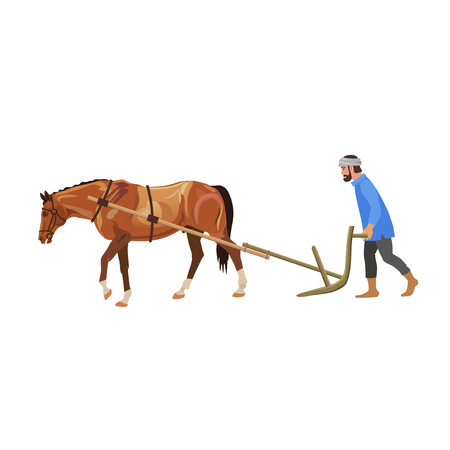 Farmer plowing field with horse. Vector illustration isolated on white background 일러스트