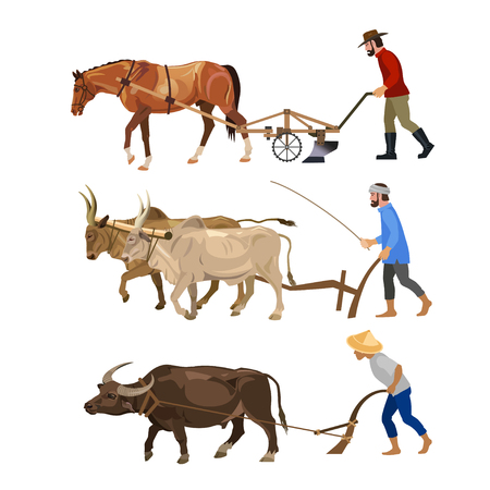 Farmers plows the land with various animals - horse, oxen, carabao. Set of vector illustrations isolated on white background Stock Vector - 103306422