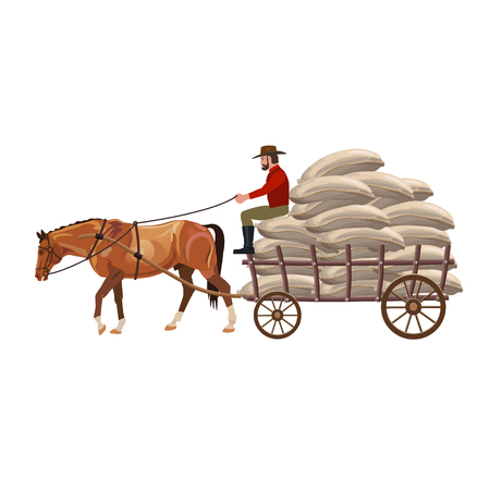 Horse drawn cart with sacks. Vector illustration isolated on white background