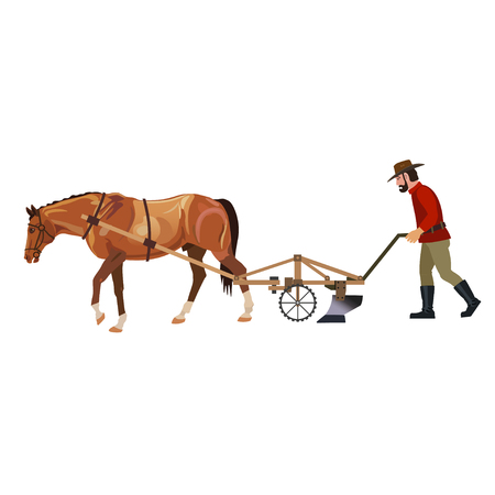 Farmer plowing field with horse. Vector illustration