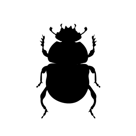 Sacred scarab beetle silhouette. Vector illustration isolated on white background