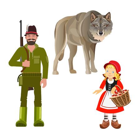 Set karakters uit het sprookje van Roodkapje. Vectorillustratie geïsoleerd op een witte achtergrond
