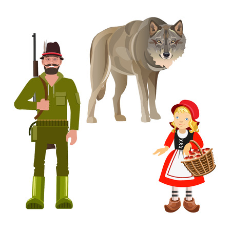 Set of characters from Little Red Riding Hood fairy tale. Vector illustration isolated on white background Vettoriali