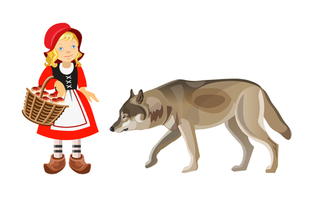 Little Red Riding Hood and Gray Wolf. Vector illustration isolated on white background