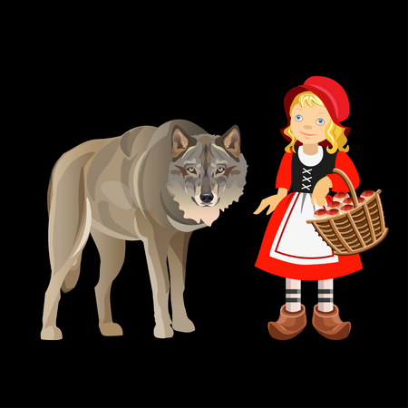 Little Red Riding Hood and Gray Wolf. Vector illustration isolated on dark background