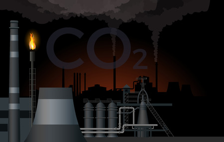 Industrial landscape. Pollution of atmospheric air from an industrial plant. Vector illustration