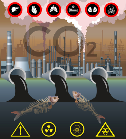 Environmental pollution. Discharge metallurgical waste. Vector illustration