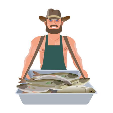 Vendedor de pescado que lleva una bandeja de vendedor ambulante. Ilustración de vector aislado sobre fondo blanco.