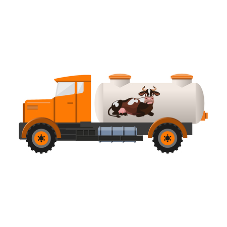 Milk tank truck. Vector illustration isolated on white background