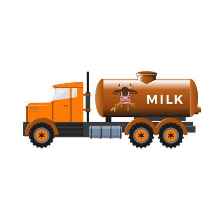 Milk tank truck. Vector illustration isolated on white background