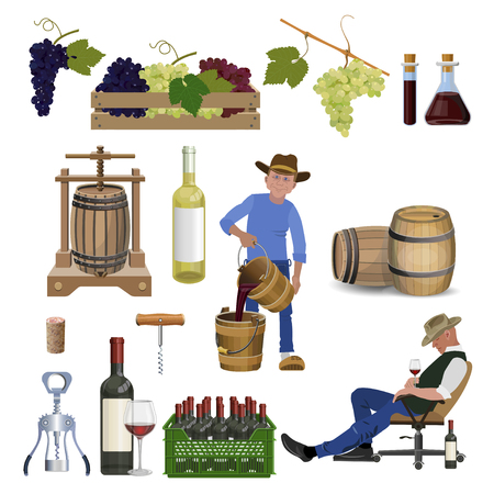 Wine set. Winemaking products. Vector illustration isolated on white background