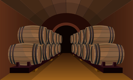 Wooden barrels stacked in the wine cellar. Vector illustration