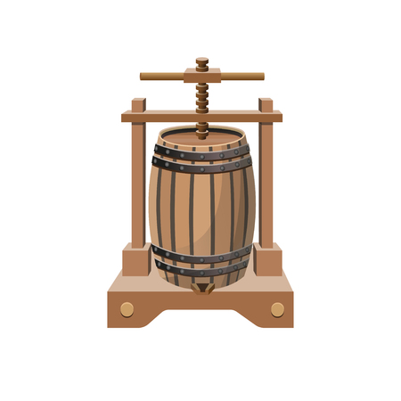 Wine press. Vector illustration isolated on white background Stock Illustratie