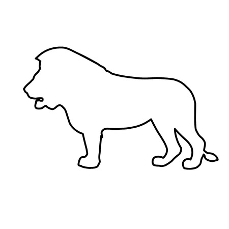 Standing african lion in line style. Side view. Vector illustration isolated on the white background
